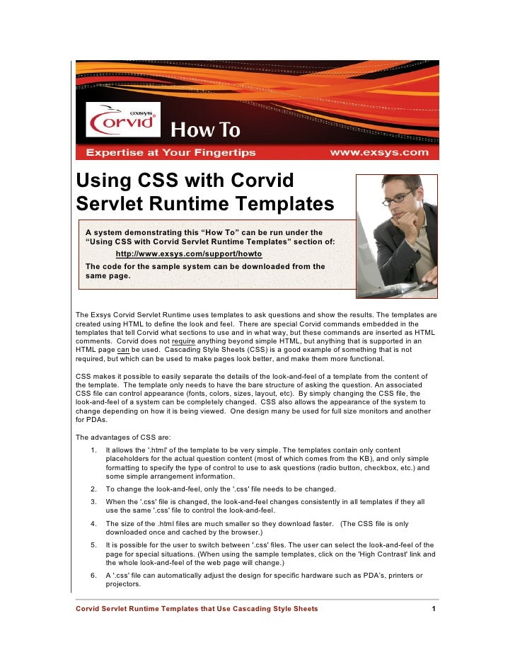 "Using CSS with Corvid Servlet Runtime Templates   A system demonstrating this ""How To"" can be run under the   ""Using CSS w..."