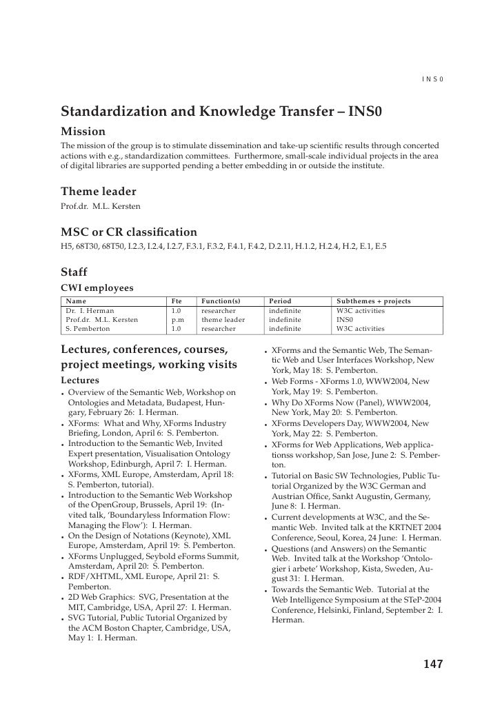 Standardization and Knowledge Transfer – INS0