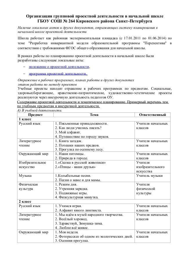 Программа По Проектной Деятельности В Начальной Школе