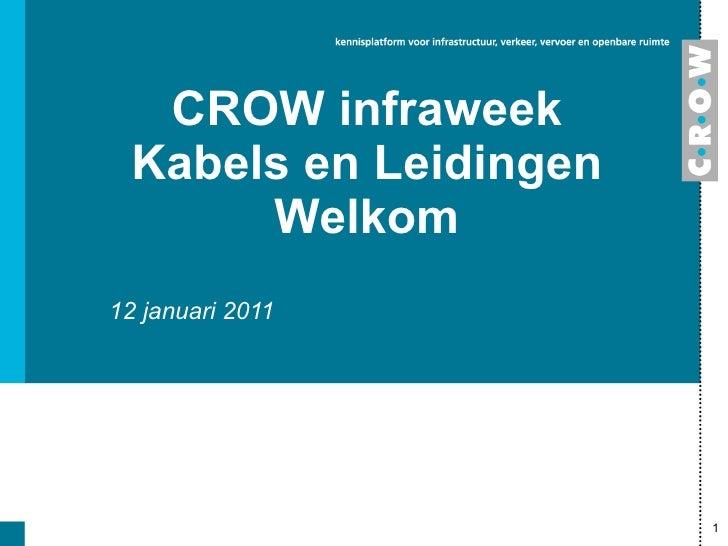 CROW infraweek Kabels en Leidingen Welkom 12 januari 2011