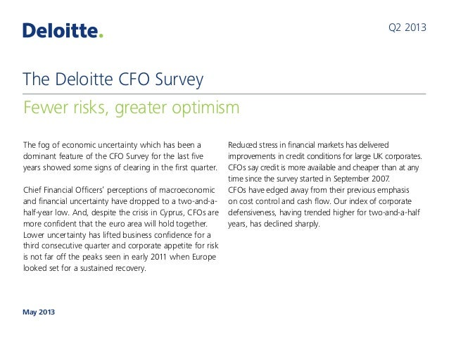 The Deloitte CFO Survey: 2013 Q1 results