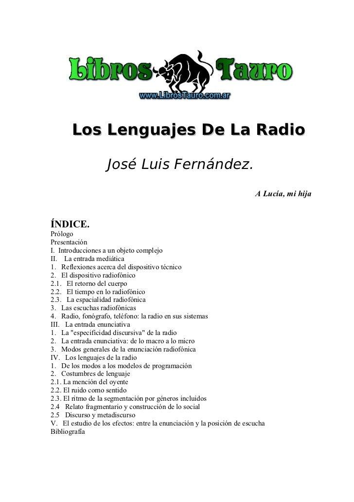 Los Lenguajes De La Radio                   José Luis Fernández.                                                          ...