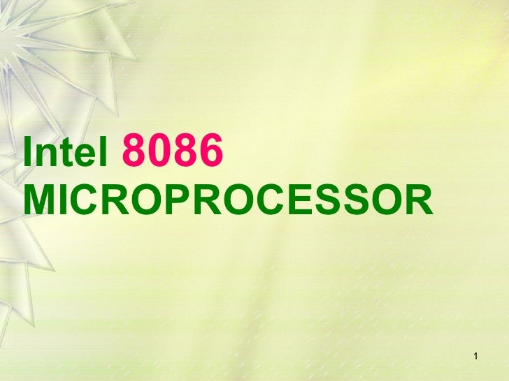 Intel  8086 MICROPROCESSOR