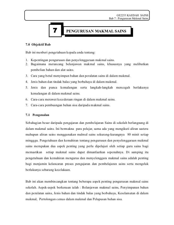 GE2253 KAEDAH SAINS                                                          Bab 7 : Pengurusan Makmal Sains              ...