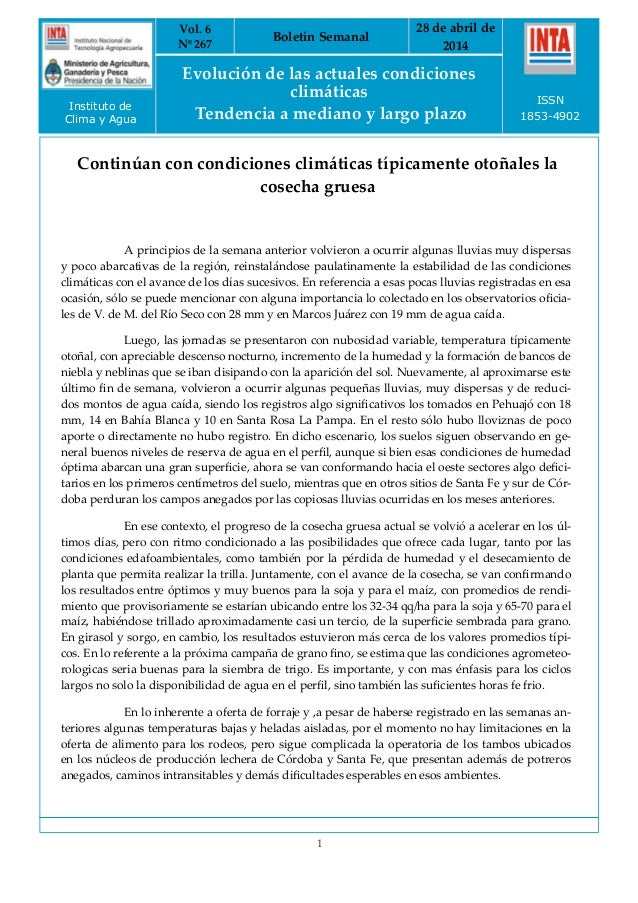 Evolución Agrometeorológica Semanal al 28/4