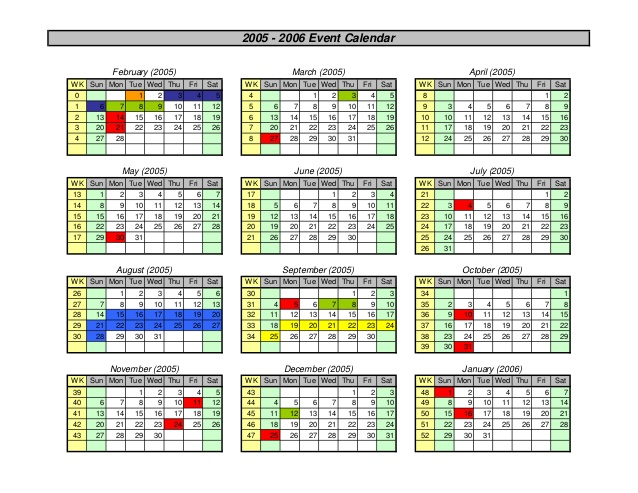Calendar Graphic Generator : Group calendar maker for excel