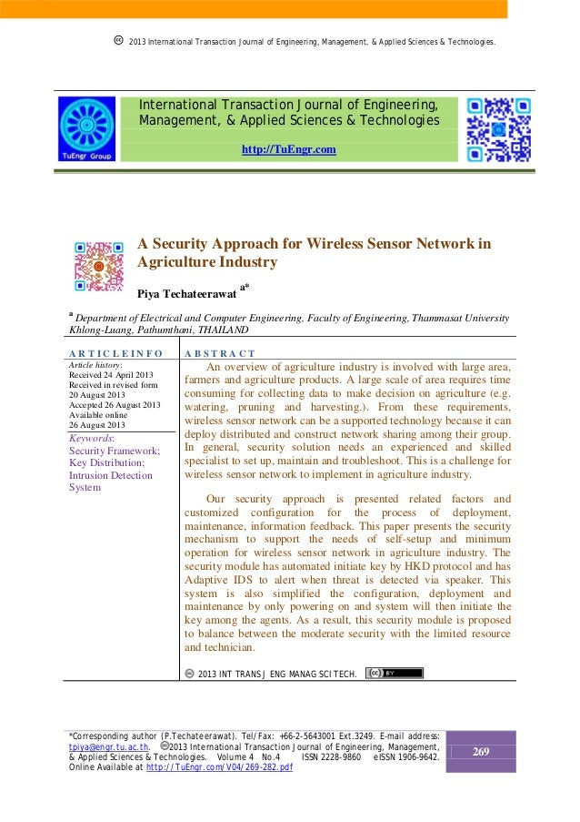 A Security Approach for Wireless Sensor Network in Agriculture Industry