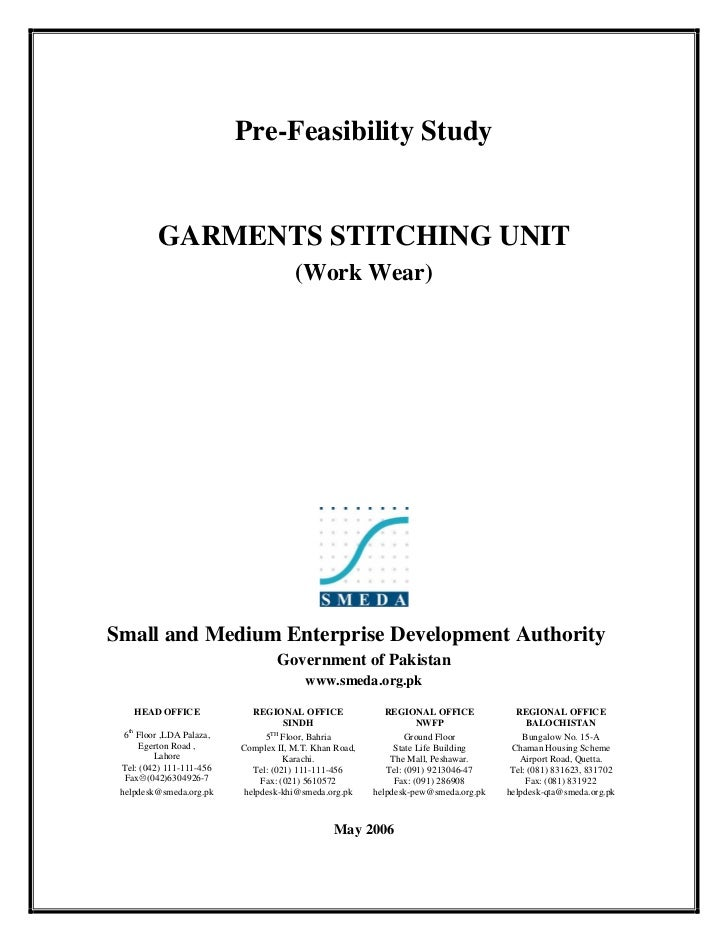 Pre-Feasibility Study          GARMENTS STITCHING UNIT                                       (Work Wear)Small and Medium E...