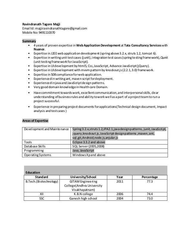Resume and j2ee and seam
