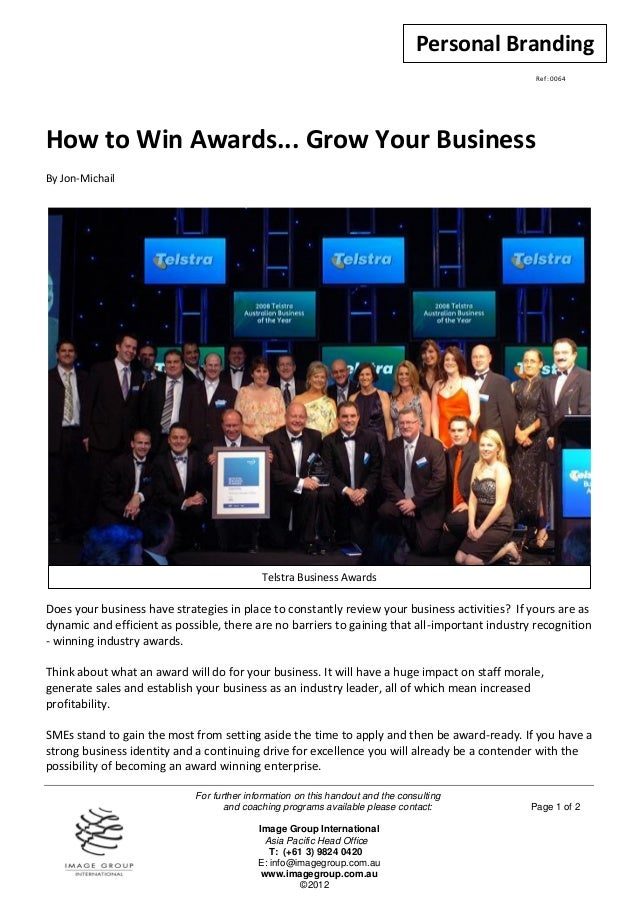 How to win awards & grow your business