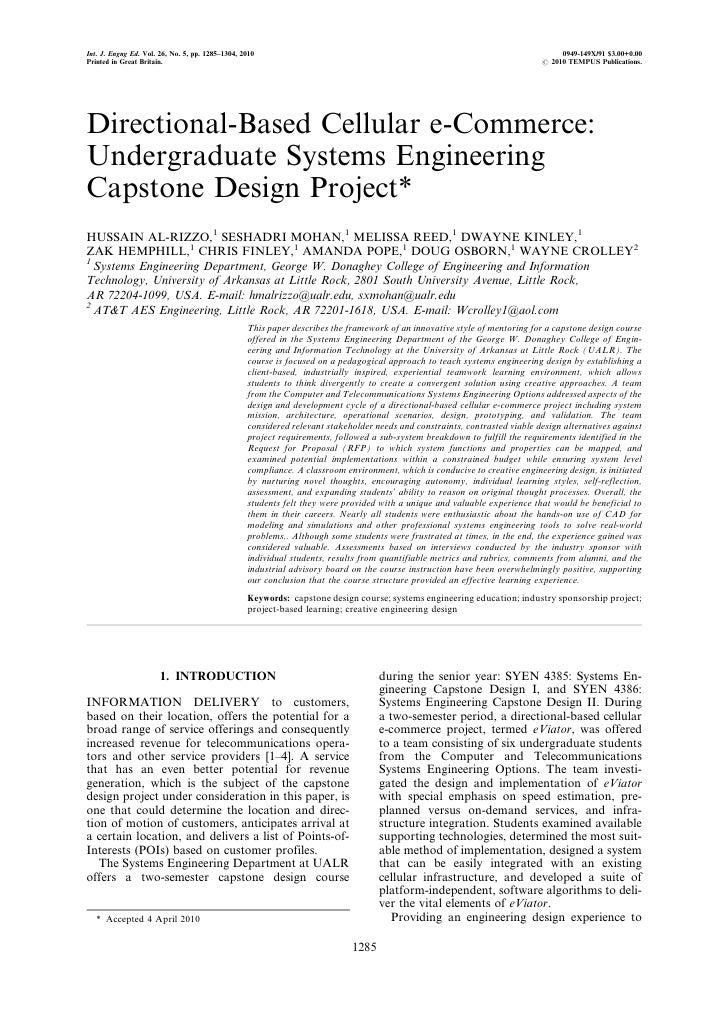 Directional-based Cellular e-Commerce: Undergraduate Systems Engineering Capstone Design Project