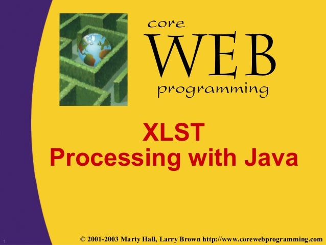1 © 2001-2003 Marty Hall, Larry Brown http://www.corewebprogramming.com core programming XLST Processing with Java