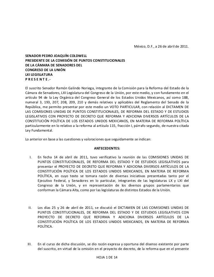 Voto Particular del Sen. Ramon Galindo sobre la Reforma Politica. Artículo 115