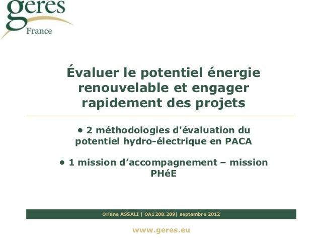 Méthodologies d évaluation du potentiel hydroélectricité en PACA