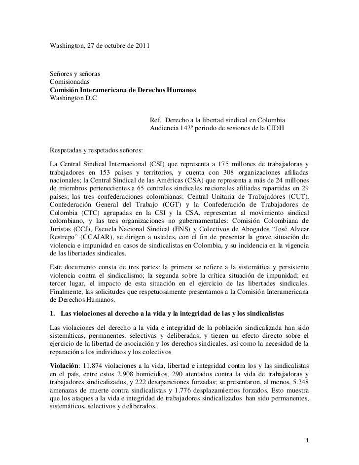 Derecho A La Libertad Sindical En Colombia Audiencia 143
