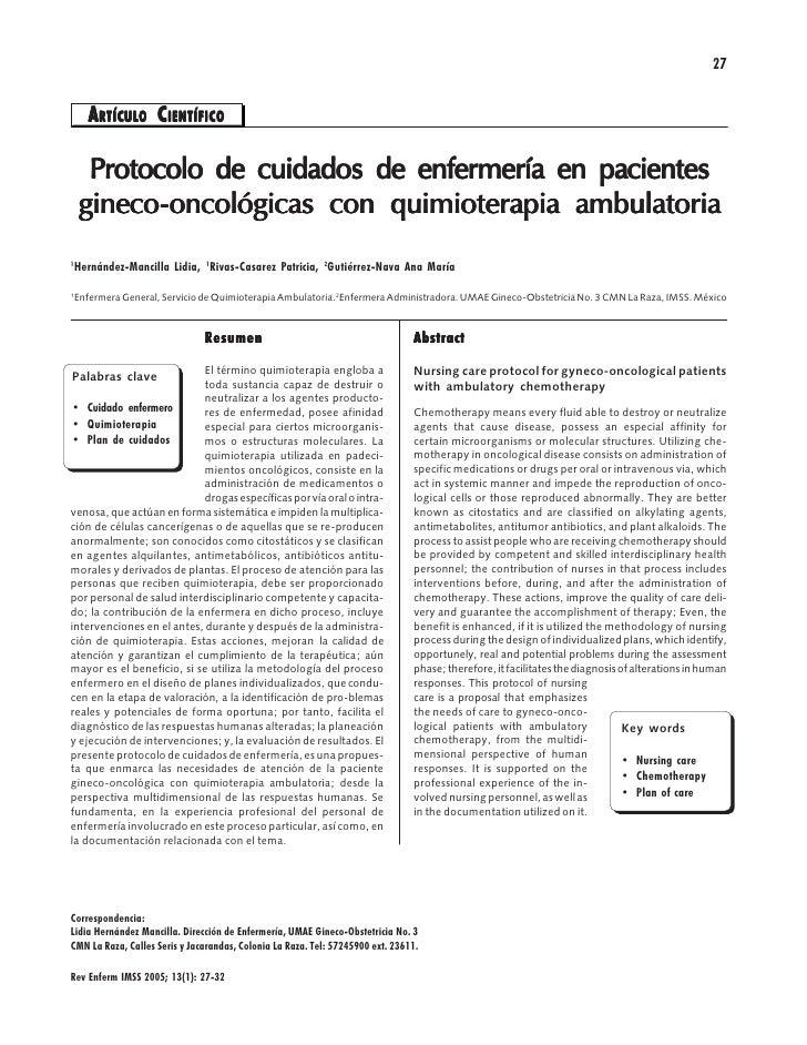 27         A RTÍCULO CIENTÍFICO         RTÍCULO        Protocolo de cuidados de enfermería en pacientes     gineco-     gi...