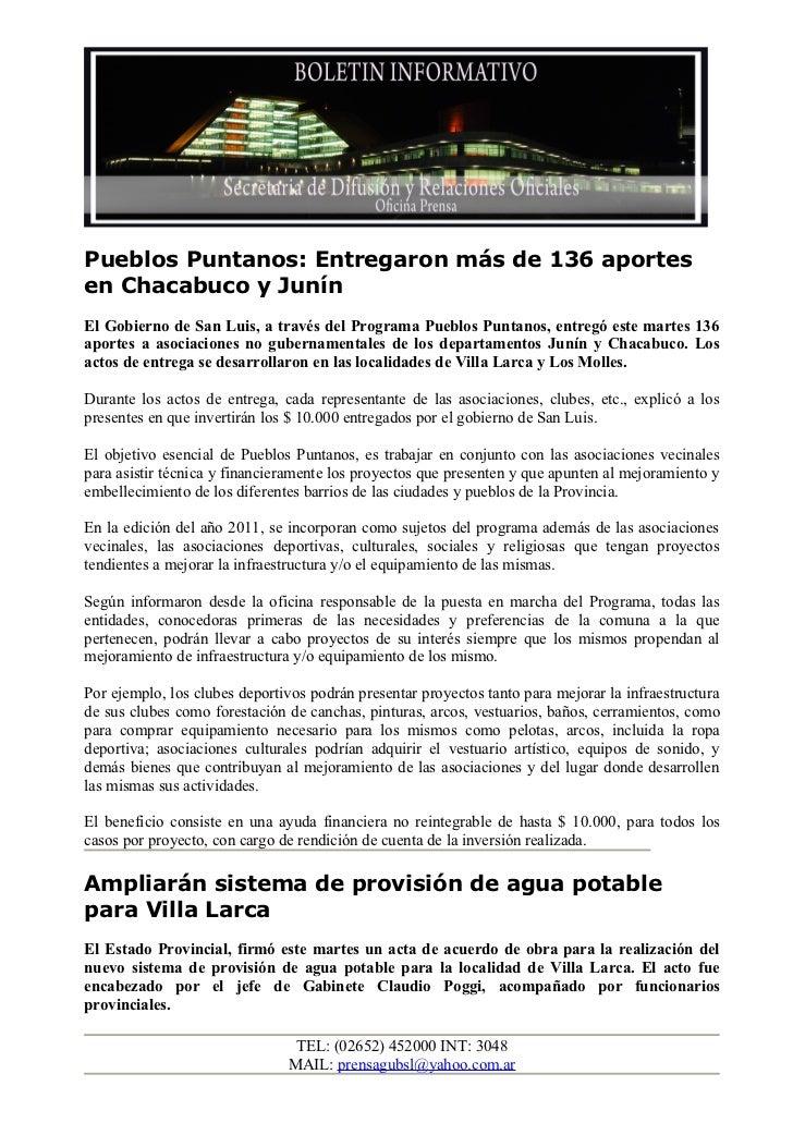 Pueblos Puntanos: Entregaron más de 136 aportesen Chacabuco y JunínEl Gobierno de San Luis, a través del Programa Pueblos ...