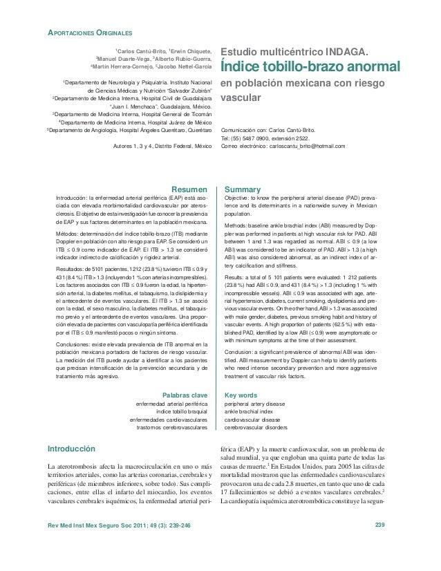 Estudio multicéntrico INDAGA. Índice tobillo-brazo anormal en población mexicana con riesgo vascular