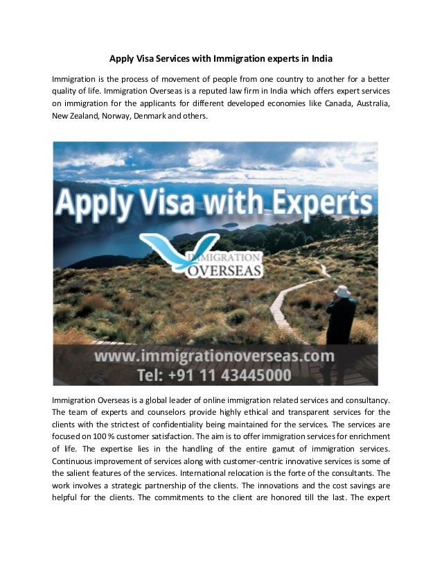Apply Visa Services with Immigration experts in India Immigration is the process of movement of people from one country to...