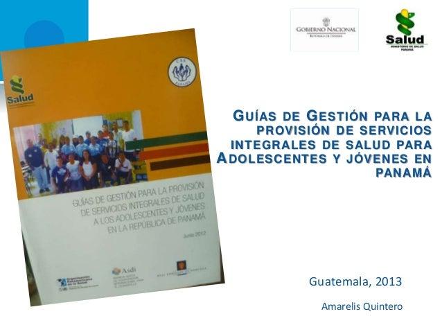 Guía Nacional de Gestión de Servicio de Salud de Panamá  OPS/PAN