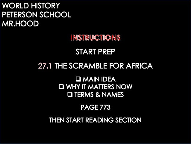 MR.HOOD`S NOTES: 27.1 THE SCRAMBLE FOR AFRICA