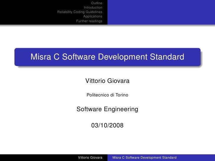 Misra C Software Development Standard