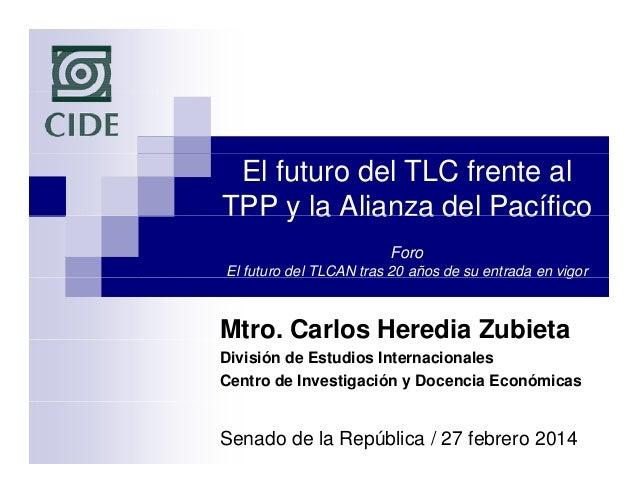 El futuro del TLC frente al TPP y la Alianza del Pacífico Foro El futuro del TLCAN tras 20 años de su entrada en vigor g  ...