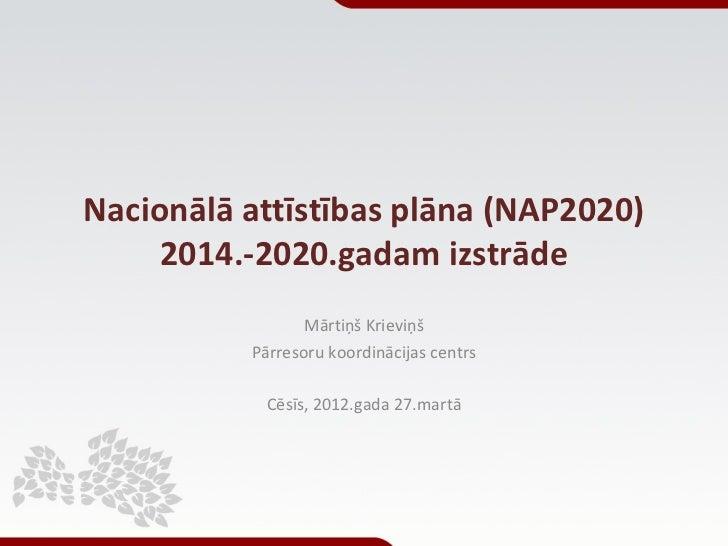Nacionālā attīstības plāna (NAP2020)     2014.-2020.gadam izstrāde                 Mārtiņš Krieviņš          Pārresoru koo...