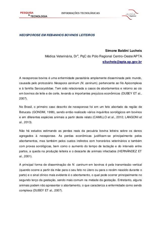 NEOSPOROSE EM REBANHOS BOVINOS LEITEIROS Simone Baldini Lucheis Médica Veterinária, Dra , PqC do Pólo Regional Centro-Oest...