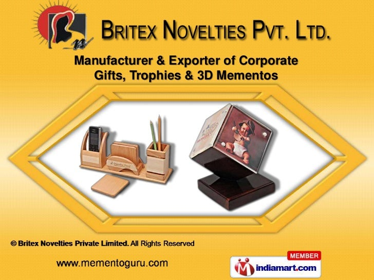 Manufacturer & Exporter of Corporate  Gifts, Trophies & 3D Mementos