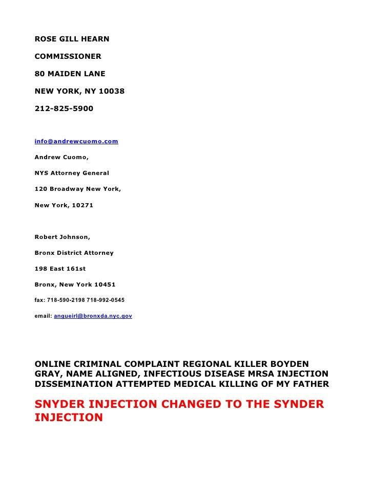 ROSE GILL HEARN  COMMISSIONER  80 MAIDEN LANE  NEW YORK, NY 10038  212-825-5900    info@andrewcuomo.com  Andrew Cuomo,  NY...