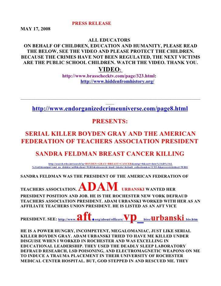 PRESS RELEASE MAY 17, 2008                             ALL EDUCATORS  ON BEHALF OF CHILDREN, EDUCATION AND HUMANITY, PLEAS...