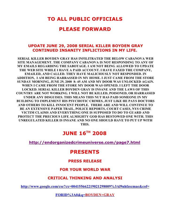 PUBLIC OFFICIAL JUNE 16TH 2008 CRITICAL THINKING PRESS RELEASE