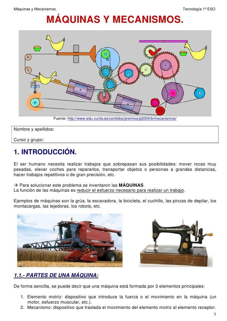 Máquinas y Mecanismos.                                                                     Tecnología 1º ESO              ...