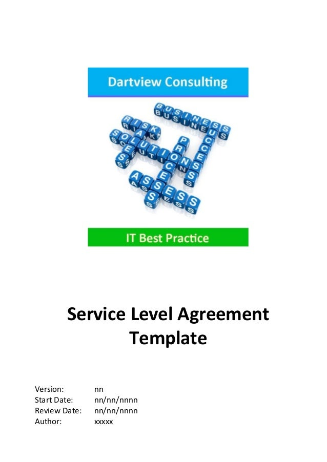 itil service design document template - itil service level agreement template