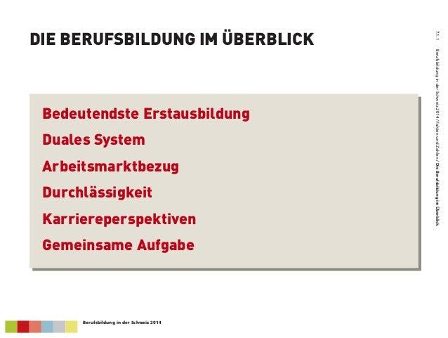 DIE BERUFSBILDUNG IM ÜBERBLICK 7.1.1BerufsbildunginderSchweiz2014/FaktenundZahlen/DieBerufsbildungimÜberblick Bedeutendst...