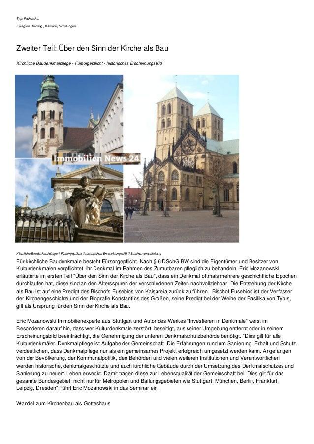 Typ: Fachartikel Kategorie: Bildung | Karriere | Schulungen Zweiter Teil: Über den Sinn der Kirche als Bau Kirchliche Baud...