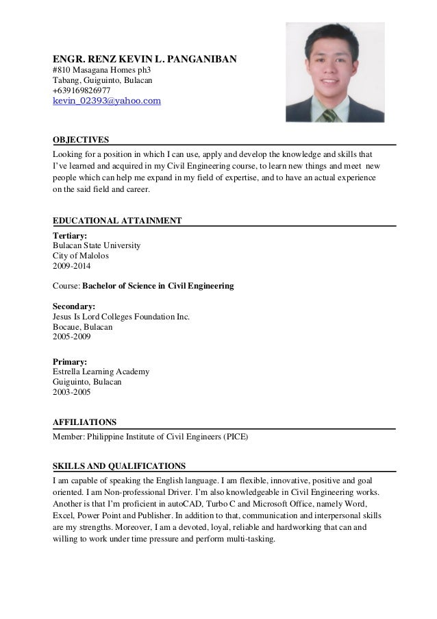 sample civil engineer resume