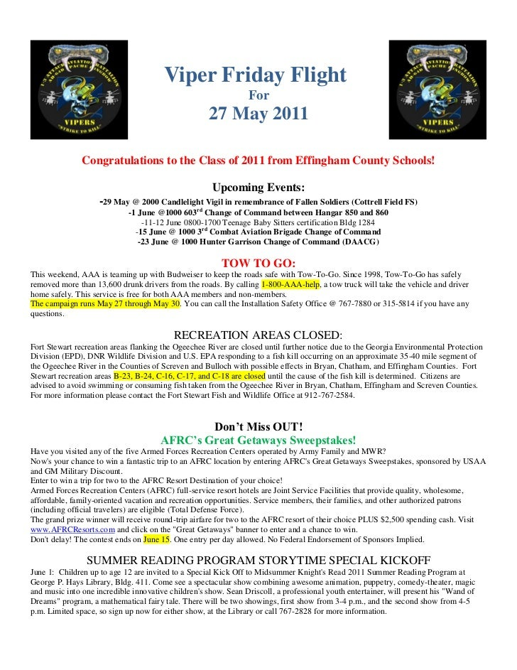 27 may 11 viper friday flight