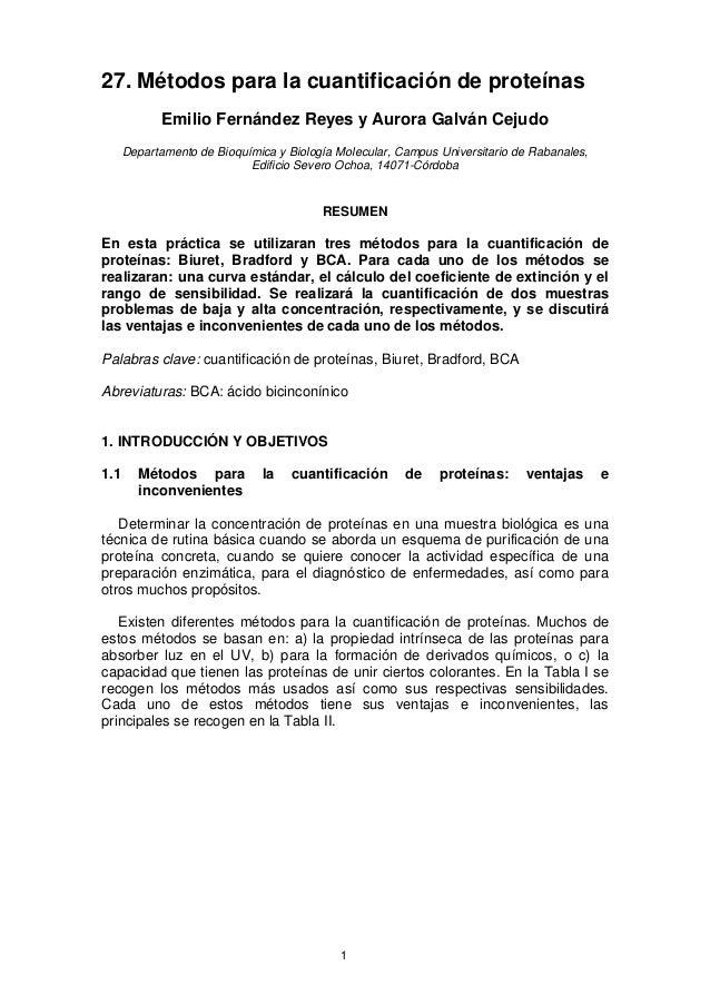 27. Métodos para la cuantificación de proteínas Emilio Fernández Reyes y Aurora Galván Cejudo Departamento de Bioquímica y...