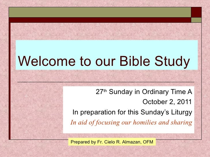 27th  Sunday  A