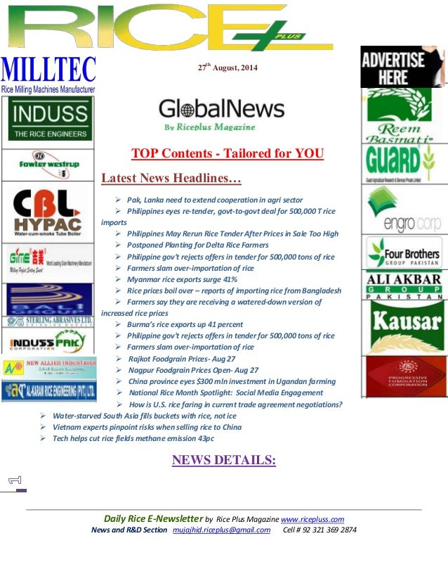 27th august,2014 daily global rice e newsletter by riceplus magazine