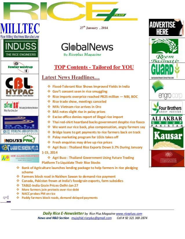 27th January , 2014  TOP Contents - Tailored for YOU Latest News Headlines…        Flood-Tolerant Rice Shows Improved...