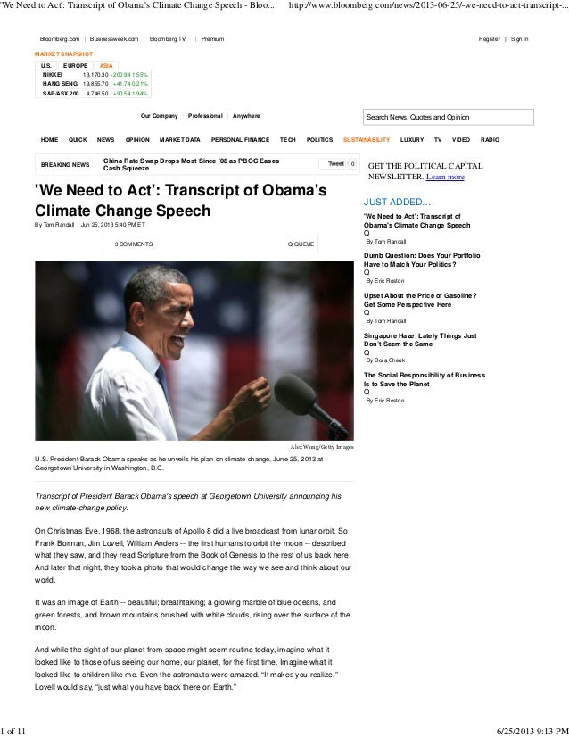 'We Need to Act': Transcript of Obama's Climate Change Speech - Bloo...  Bloomberg.com  Businessweek.com  Bloomberg TV  ht...
