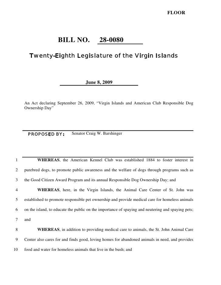 FLOOR                             BILL NO.                28-0080         Twenty-Eighth Legislature of the Virgin Islands ...
