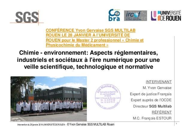 Conférence d'Yvon Gervaise à l'Université de Rouen le 28 janvier 2014