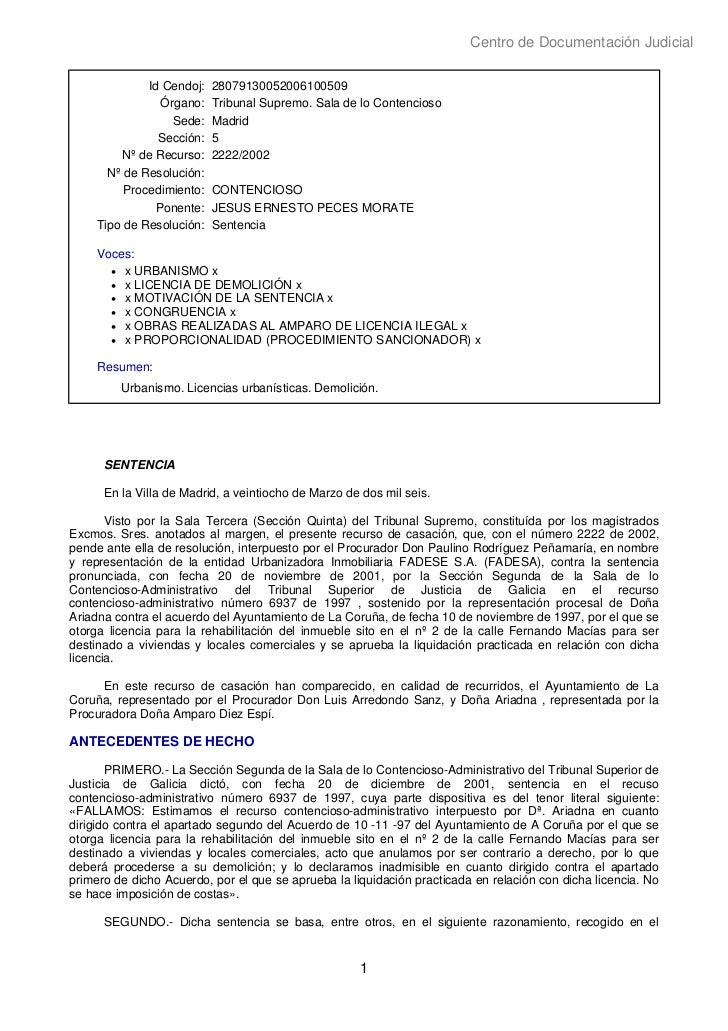 Centro de Documentación Judicial             Id Cendoj:   28079130052006100509               Órgano:    Tribunal Supremo. ...