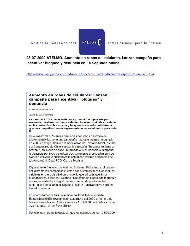 28 07 2009 Atelmo  Aumento En Robos De Celulares  Lanzan CampañA Para Incentivar Bloqueo Y Denuncia En La Segunda Online