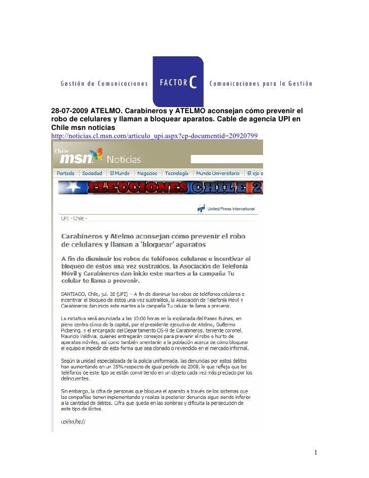 cómo prevenir el robo de celulares y llaman a bloquear aparatos  Cable de agencia UPI en Chile msn noticias
