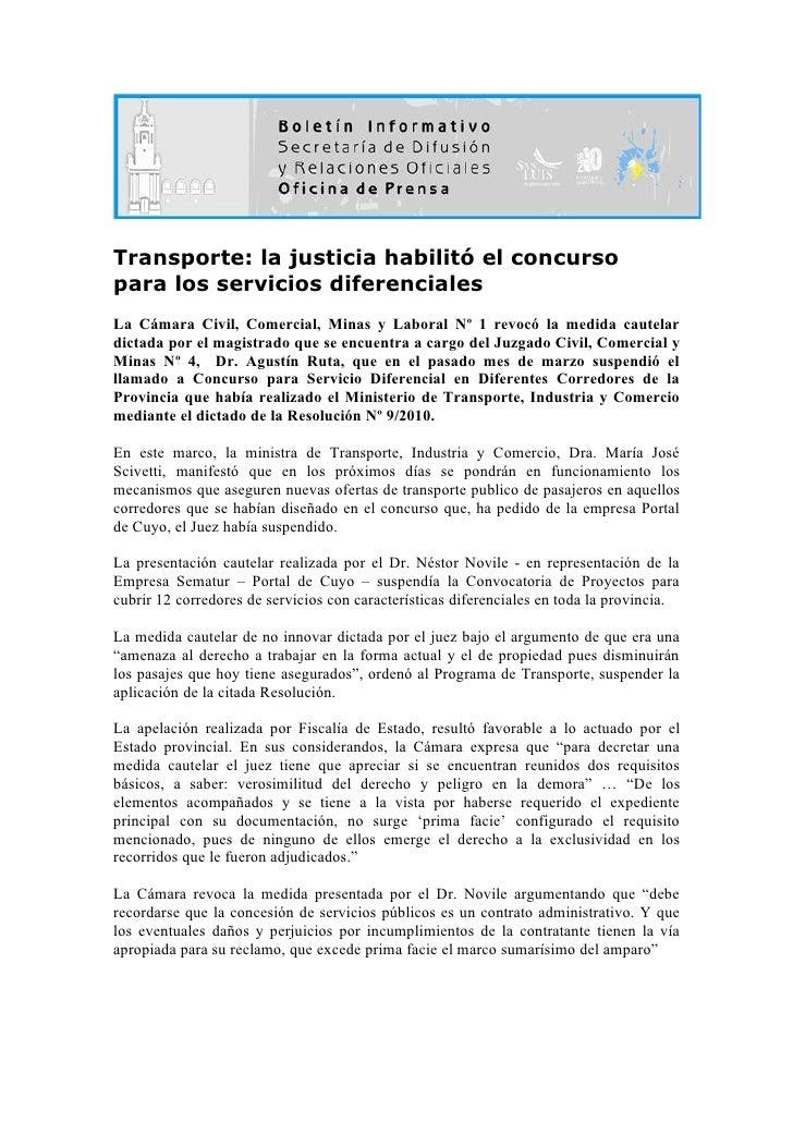 Transporte: la justicia habilitó el concurso para los servicios diferenciales La Cámara Civil, Comercial, Minas y Laboral ...